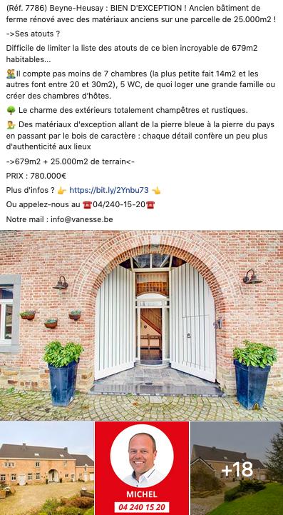 Facebook et le secteur immobilier : exemple Vanesse Immobilière