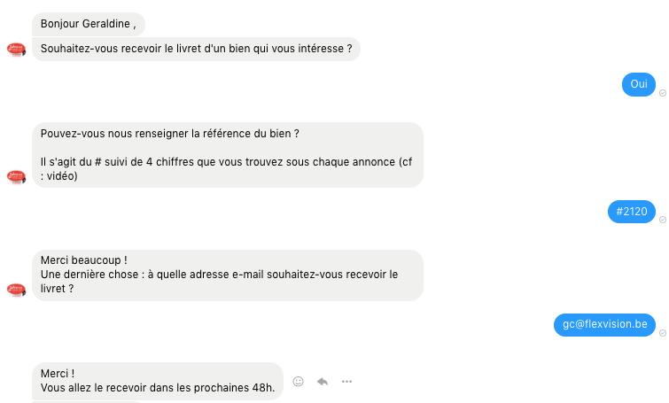 Conversation dans Messenger avec le chatbot