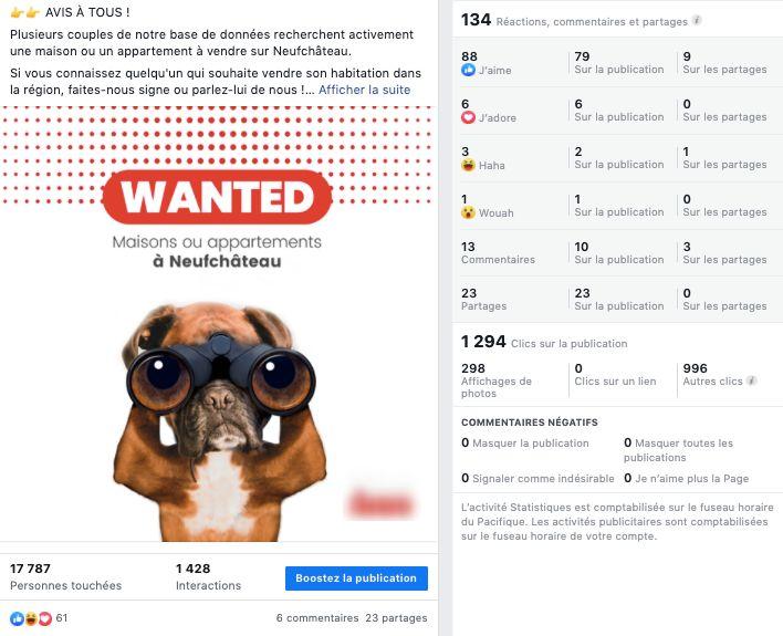 Campagne publicitaire dont l'objectif est d'avoir des interactions : l'image affiche un chien avec des jumelles qui lance un appel (maisons ou appartements à vendre à neufchâteau)