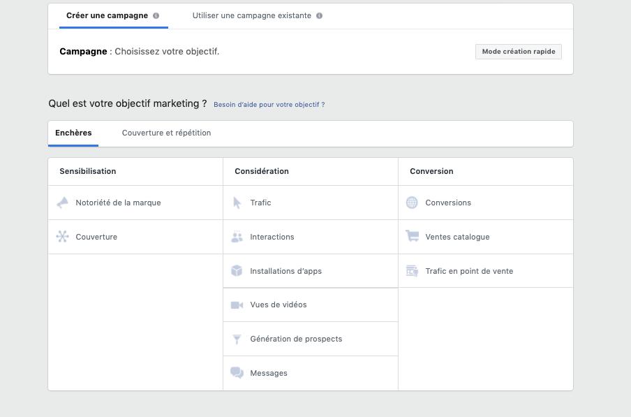 création de campagne publicitaire dans Facebook : interface avec ls trois objectifs