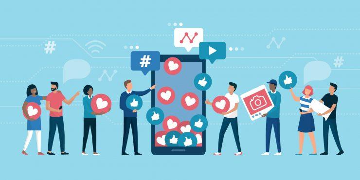 """Illustration d'un téléphone et de personnes qui interagissent en donnant des """"like"""", en utilisant des hashtag..."""